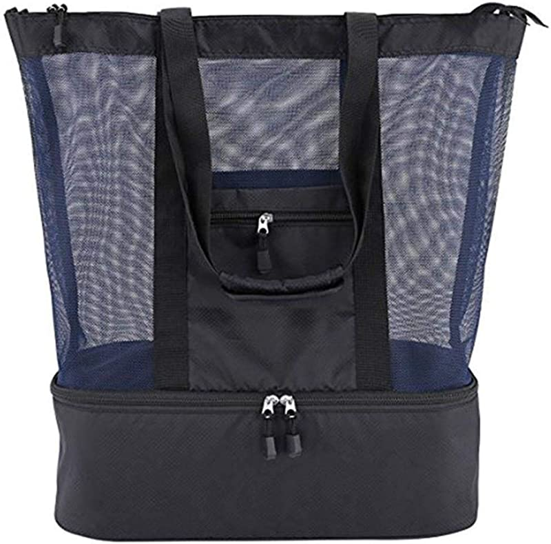 Mesh Beach Tote Bag With Zipper Top And Insulated Picnic Cooler Lunch Bag For Women Kids Student