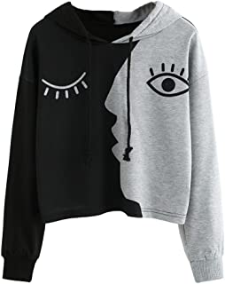 Boomboom Plus Size Teens Girls Hoodies Patchwork Face Printing Sweatshirts Long Sleeve Blouse