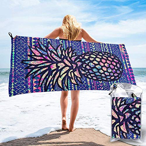 shenguang Sand Free Beach Towels, Microfiber Portable Compact Bath Towels, Pineapple Quick Dry Super Lightweight Towel Blanket with A Carrying Bag