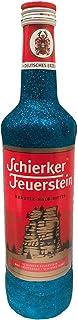 Glitzer Schierker Feuerstein Kräuter-Halb-Bitter, Kräuterlikör 1 x 0.7 l - Bling Glitzerflasche blau
