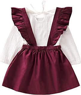 AILENFEISO Toddler Baby Girls Floral Outfit Set Ruffle Purple Long Sleeve Shirt Tops + Stripe Suspenders Skirt Overall Dress