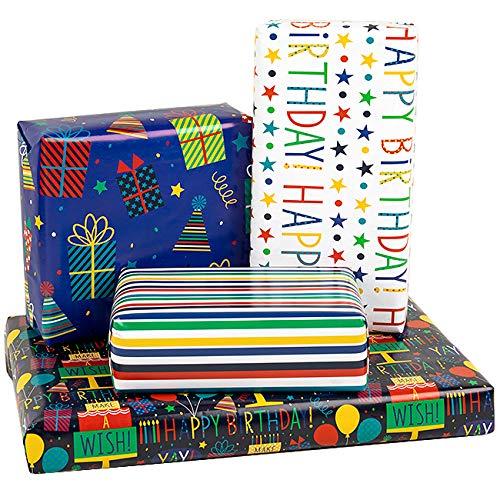 RUSPEPA Hoja De Papel Para Envolver Regalos - Doblado En Plano - 4 Diseños De Cumpleaños Diferentes (30,1 Pies Cuadrados) - 70 cm X 1 m Por Hoja