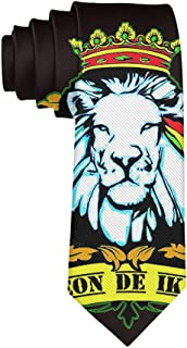 Novelty Necktie Mens Old Flag Of Ethiopia Lion Of Judah Rastafarian Ties, Casual and Formal Neckties for Boys, Teens, Festival Party