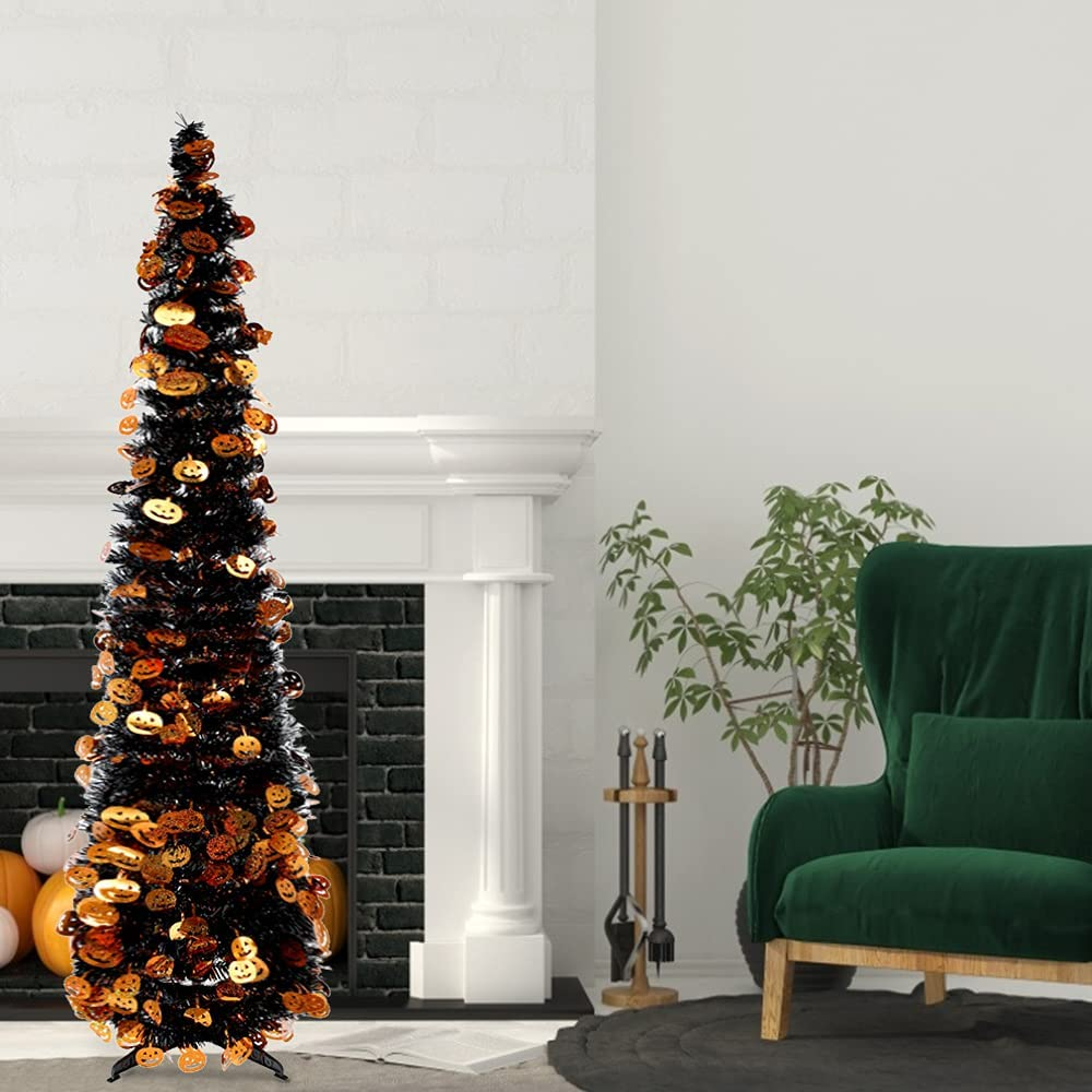 5FT Halloween low-pricing Christmas Tree Tinse Collapsible Max 58% OFF Pencil Artificial