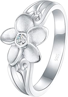 BORUO 925 纯银戒指,方晶锆石 CZ 夏威夷花朵高抛光舒适贴合婚戒