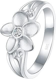 BORUO 925 Sterling Silver Ring, Plumeria Cubic Zirconia CZ Hawaiian Flower High Polish Tarnish Resistant Comfort Fit Wedding Band Ring
