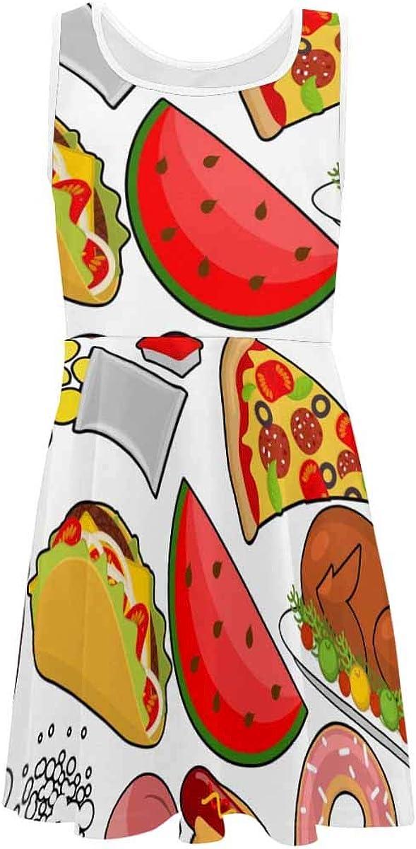 INTERESTPRINT Girls Sleeveless Dress Round Neck Casual Party Sundress 4-13 Years Fsat Food M