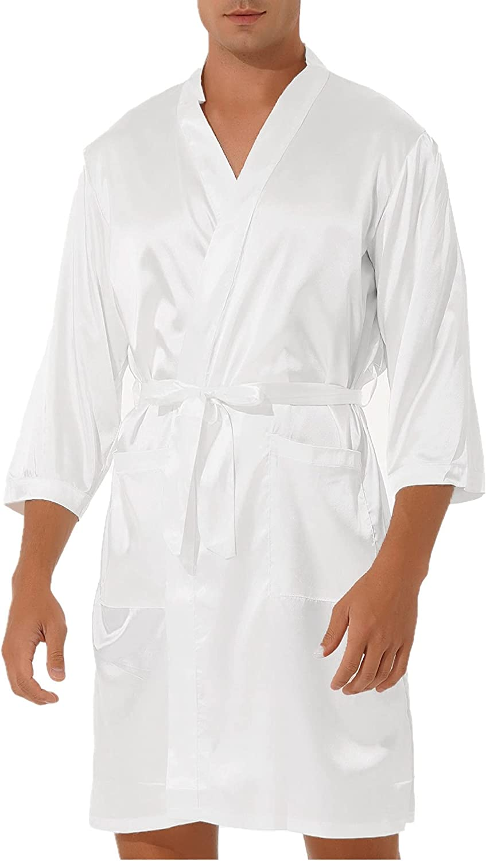 moily Mens Lightweight Satin Robe with Shorts supreme Sleeve K Long Super intense SALE Silk