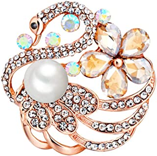 Emorias 1pcs Shiny Swan and Flower Brooch for Women Rhinestone and Pearl Breastpin for Dress, Blouse, Suit and Scarf Decoration for Daily Wear, Party, Banquet, Ceremony, 3.5x3.5cm, Rose Gold
