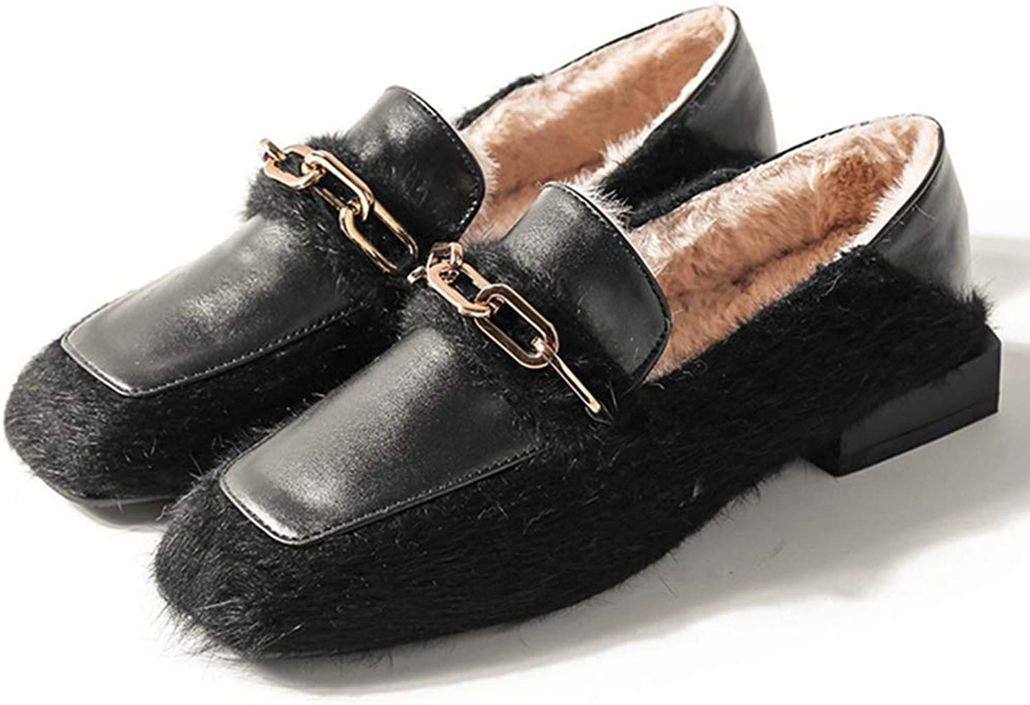 Beautiful - Fashion Women's Penny Loafers Slip On Metallic Chain Winter Warm Fur Flats Comfort Casual Driving Office Loafer shoes