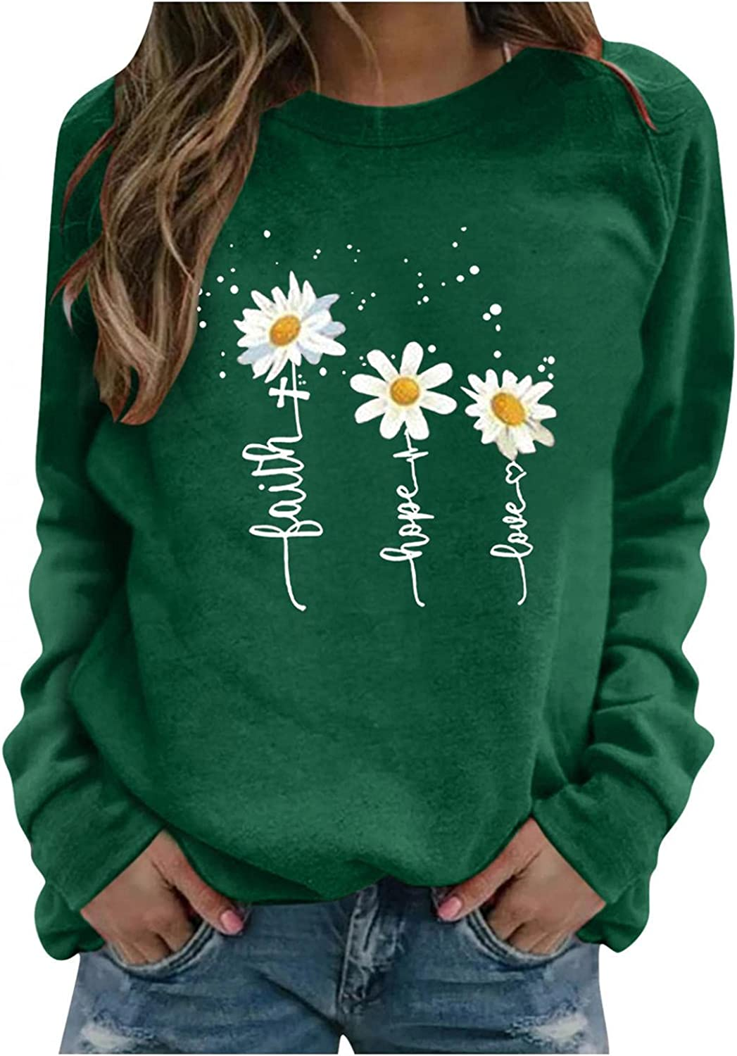 Aniwood Crewneck Sweatshirts for Women Pullover, Women's Casual Long Sleeve Floral Print Tops Shirts Blouse for Teen Girls