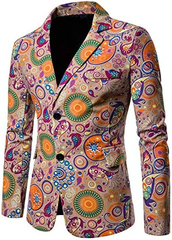 Mens Casual Ethnic Style Blazer Slim 2-Button Outlet sale Low price feature Dashiki Fit Print