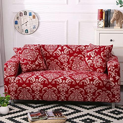 Funda Sofa 3 Plazas Fundas para Sofa Jacquard Rojo Vintage Fundas de Sofa Elasticas Fundas para Sofá Ajustables Estampada Cubre Sofa con 1 Funda de Cojín