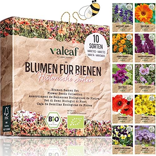 valeaf BIO Wilde Blumen Samen Set I 10 Sorten bienenfreundliche Blumensamen für Bienenwiese I Premium BIO Samen Blumen I Wildblumen Samen I Blumenmischung Samen I Bienenweide Wiesenblumen Samen