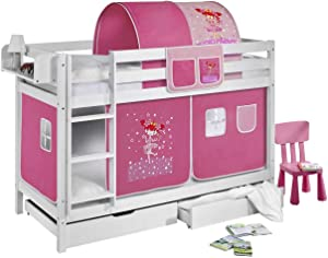 Lilokids Lit superposé JELLE Princesse - lit d'enfant blanc - avec rideau et deux sommiers, lit 90x200 cm