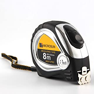 Measuring Tape Measure Self Locking - Professional26Ft Both Side Dual Ruler, Retractable,Heavy Duty, Sturdy,Double Magnetic Hook, Metric, Inches and Imperial Measurement for Construction,Art (Sliver)