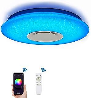 Lámpara de techo con Alexa Smart WiFi, con mando a distancia, regulable, cambio de color, cielo estrellado, con altavoz Bluetooth, compatible con Amazon Alexa