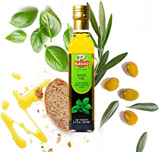 Basil Extra Virgin Olive Oil for Dipping and Tasting 8.5 Fl Oz (250 ml)