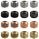 ICAI Beads 16 Pcs Mixed Color Zircon Pave Rhinestones big hole Rondelle Spacer Beads 6x7mm for Jewelry Making