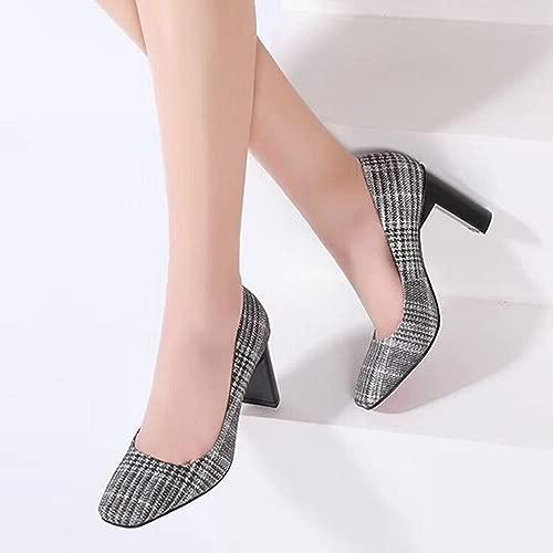 Japanische und Koreanische Mode Schuhe Frühjahr und Sommer Frauen 'S Quadrat Rau mit Hochwertigen Leder Schuhe Frauen' S Schuhe High Heels,Ein,37