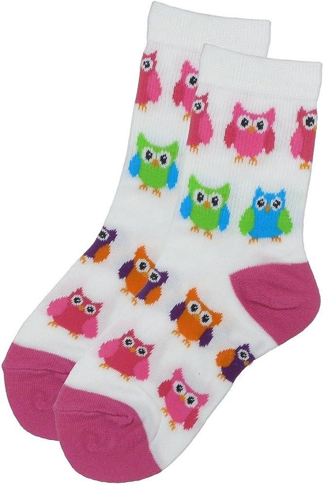 Girls Fun Novelty Cotton Blend Direct sale of manufacturer San Jose Mall Socks - Owl Print Crew