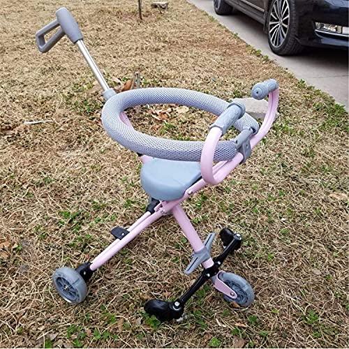 NBgycheche Triciclo Trike Carrito de Tres Ruedas para niños Plegable Ligero de Cinco Ruedas, niños/niñas 10-36 Meses Primera Bicicleta del bebé Regalo de cumpleaños (Color : Pink)
