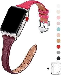 WFEAGL コンパチブル apple watch バンド 38mm 40mm,コンパチブル アップルウォッチ バンド iWatch series 5/4/3/2/1,トップグレード革 スリム&薄型交換用リストバンド (38mm 40mm, ワインレッド/ピンク バンド+シルバー アダプター)