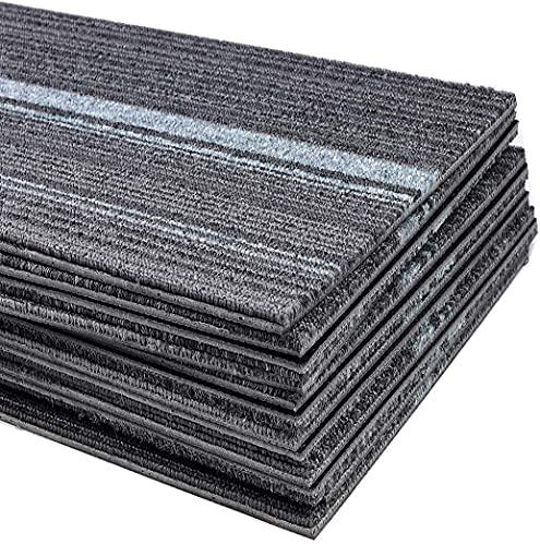 Teppichfliesen Strapazierfähig mit Klebepatch selbstklebend Teppichboden Bodenfliesen mit rutschhemmendem Vinyl-Rücken 100cmx25cm (12 Stück- Teppichfliesen)