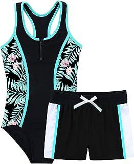 MSemis Girls Athletic Bathing Suit Sleeveless Jumpsuit with Boyshort Swimsuit for Kids Beachwear