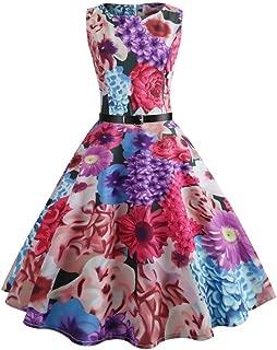 Women Summer Dress,Todaies Women Vintage Bodycon Sleeveless Dress Casual Retro Evening Party Prom Swing Dress 2019