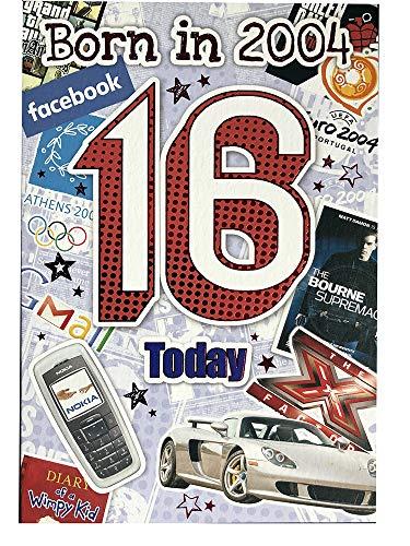 Geburtstagskarte für Jungen, zum 16. Geburtstag (CO-YA204) – 2004 Year You Were Born Grußkarte für ihn – Alter 16 – Grußkarte mit Fakten im Inneren – attraktive Folienoberfläche