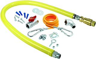 T&S Brass HG-4D-48K-FF Gas Hose with Quick-Disconnect, 3/4-Inch NPT X 48-Inch, Cable Kit, Ball Valve, Gas Elbows and Nipples