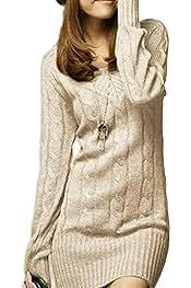 f5111be7e445 Vestido De Punto Mujer Elegantes Vintage Otoño Invierno Jersey Largo Manga  Larga Mode De Marca V