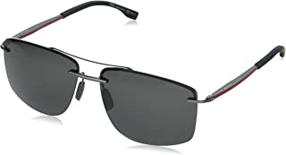Hugo Boss - BOSS by Hugo Boss BOSS 1033/F/S Gafas de sol cuadradas polarizadas, rutenio oscuro, 64 mm, 15 mm