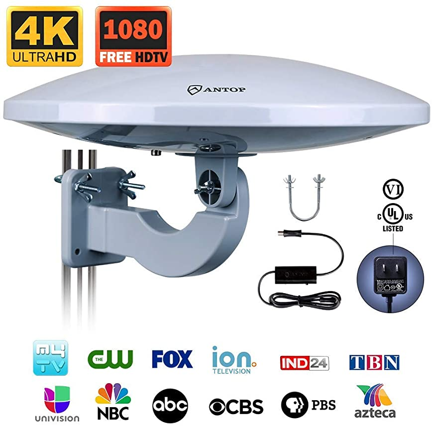 Outdoor HDTV Antenna -Antop Omni-Directional 360 Degree Reception Antenna for Outdoor, Attic,RV Used, 65 Miles Range with Amplifier Booster and 4G LTE Filter(Renewed)