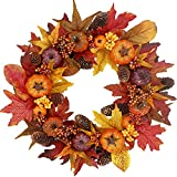 19' Fall Wreath for Front-Door-Decor Storage Box Included- Handcrafted Boxwood Base- Ideal for Autumn& Halloween& Thanksgiving Day