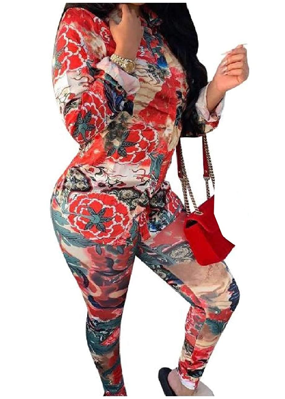 上院スキー習字GodeyesW 女性カジュアル花柄ラペル襟トップジャケットとスウェットパンツの衣装