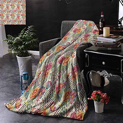 ZSUO bank deken diamant patroon met bloeiende bloemen regeling bloemblaadjes en bladeren super zacht licht gewicht gezellig warm pluche hypoallergeen