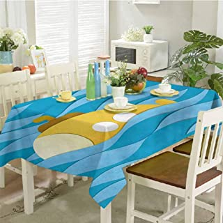 dsdsgog Wrinkle Free Tablecloths Illustration of a Submarine Over The Sea Paper Cutting Style Print 54