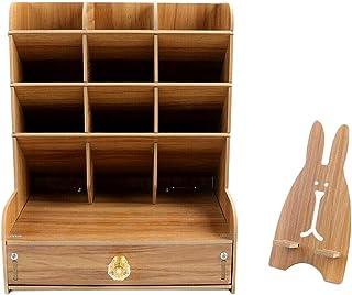 Abbraccia Desktop Organizer Desktop Pen Storage Rack Container - Cherry Wood
