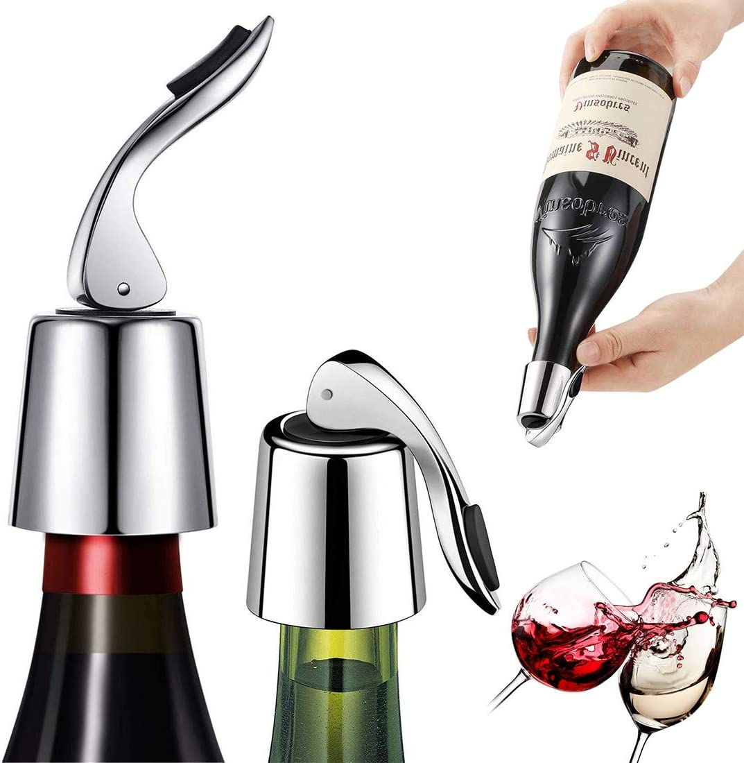 ifory 2 Pack Wine Bottle Stopper Steel Animer and price revision San Francisco Mall with Plug Silic Stainless