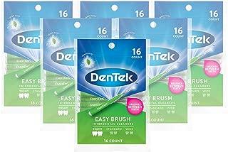 DenTek Easy Brush Interdental Cleaners | Brushes Between Teeth | Tight Teeth | Mint Flavor | 16 Count | Pack of 6