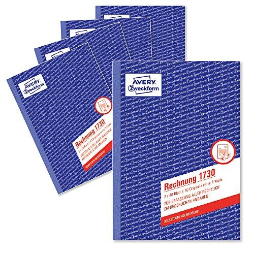AVERY Zweckform 1730-5 Rechnung (A5, 2x40 Blatt, selbstdurchschreibend mit farbigem Durchschlag, enthält alle vom Finanzamt geforderten Angaben) 5er Pack, weiß/gelb