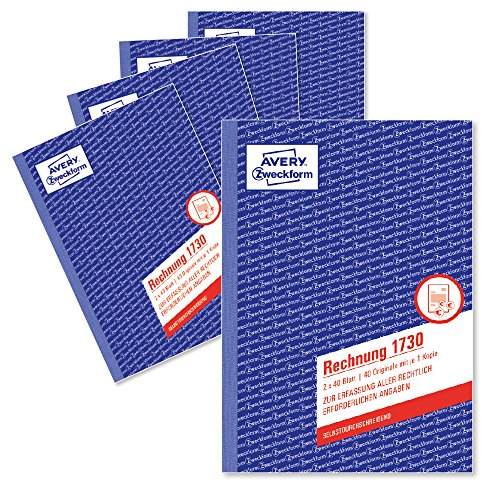 AVERY Zweckform 1730-5 Rechnung (A5, selbstdurchschreibend, 2x40 Blatt) 5er Pack, weiß/gelb