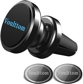 Voulttom マグネット式ホルダー エアコンの通気口用 360度回転 コンパクト スマホスタンド Iphone8 /7/ 7 plus/6s plus 対応 (ブラック)
