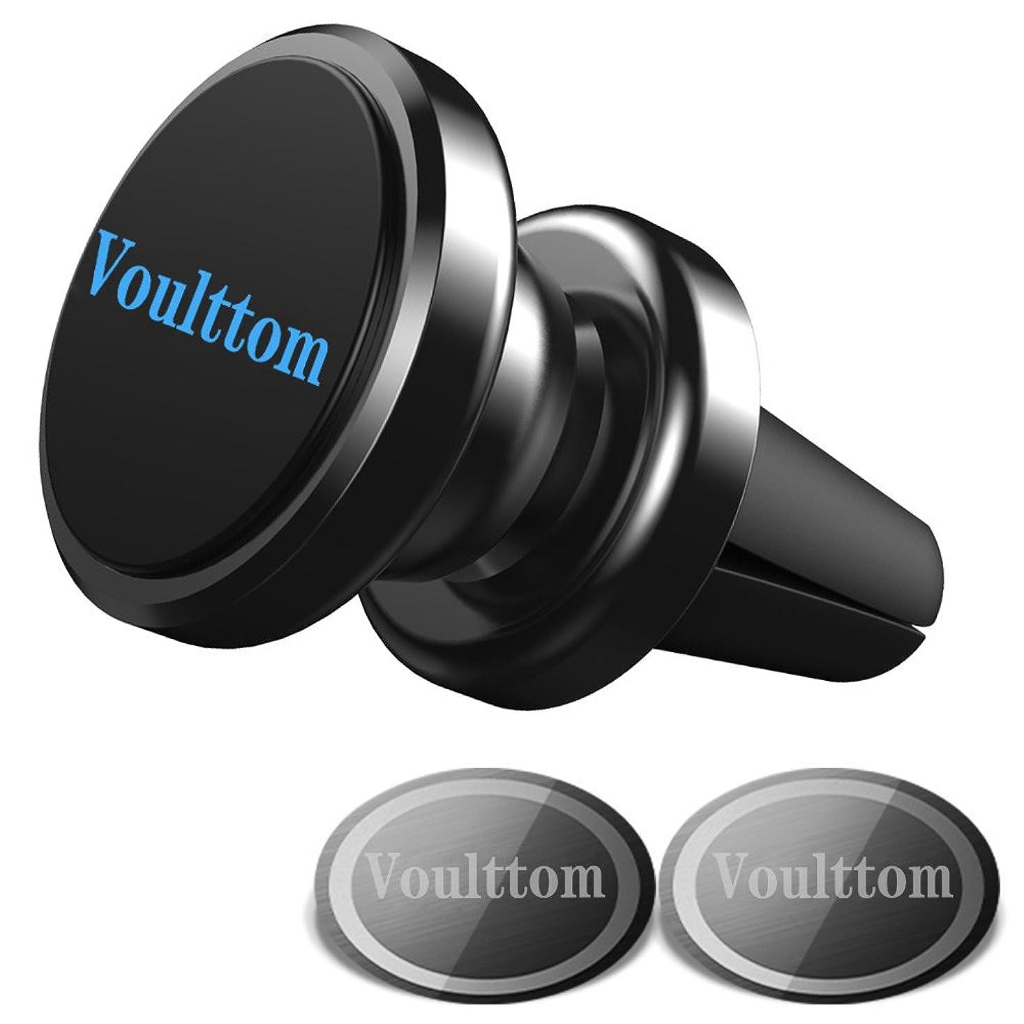 壁中世の利益Voulttom マグネット式ホルダー エアコンの通気口用 360度回転 コンパクト スマホスタンド Iphone8 /7/ 7 plus/6s plus 対応 (ブラック)