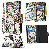 Nadoli Reißverschluss Brieftasche Etui für Samsung Galaxy A70e,Bunt 9 Karte Halter Pu Leder Gemälde Baum Entwurf Lanyard Magnetisch Standfunktion Flip Schutzhülle
