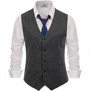 Men's Western Herringbone Tweed Suit Vest Wool Blend Slim Fit Waistcoat