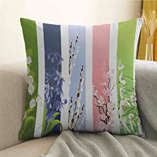 Silky Pillowcase Super Soft and Luxurious Pillowcase Spring Flowers on Different Backgrounds Lily Valley Primrose Floral Home Decor Print W18 x L18 Inch Multicolor