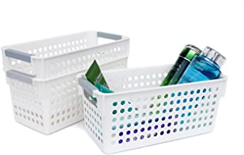 Honla Slim Plastic Storage Baskets Bins Organizer with Gray Handles,Set of 3,White